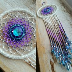 Purple Aqua Beaded Athabascan Suncatcher by BeadingsbyBarb on Etsy
