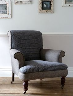 1920s Harris Tweed Antique Club Chair / Armchair