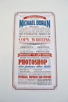 Old creative C.V by Michael Doran, via Behance