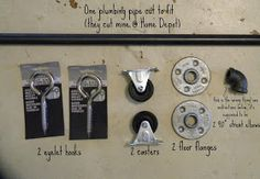 DIY:  How to Use Ordinary Hardware for a Sliding Barn Door - this post shows and names the hardware needed to make your own sliding barn door for around $40 + shows how you need to install the hardware - via Fig Milkshakes: DIY Sliding Barn Door