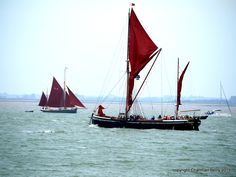 Passing ships by Charmian S Berry - A Barge and a 4 sailed sloop pass each other on the River Orwell