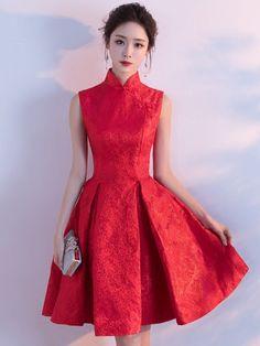 Red Fit & Flare Qipao / Cheongsam Wedding Dress