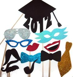 Photo Booth Props / Graduation photo booth props / Class of 2013 /Photobooth props/ Photobooth Party / Wedding photo booth props. $27.00, via Etsy.