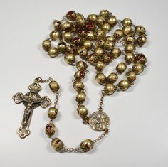 Vintage Rosary DiRoma Red Glass Capped Painted Beads Roma 1950 Signed Diroma
