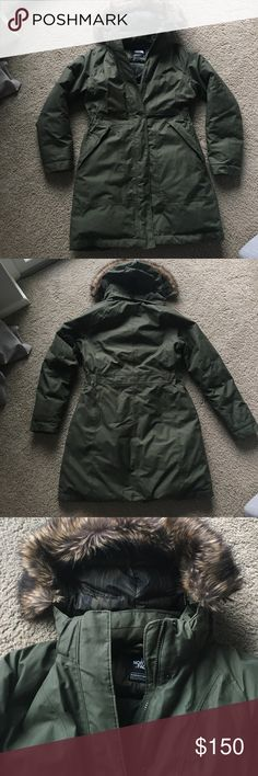 North Face Arctic Parka North Face Women's Arctic Parka. Olive green with brown removable faux fur on hood. Size Medium. Hits mid-thigh. Full zip and button. Adjustable and removable hood. Slightly cinched waist. Front zipper pockets. Down fill. Waterproof. 2015 edition, only worn one season though. Current 2017 version almost identical and is $299. Perfect condition, from a smoke free and pet free home. North Face Jackets & Coats