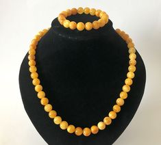From Lithuania a Baltic beeseax amber necklace and matching bracelet. The beads are ø10mm 43 grams bee wax colour | eBay!