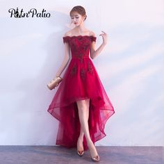 7e9ce47993 2018 Burgundy Lace High Low Prom Dress Boat Neck Sleeveless Wine Red Short  Front Long Back