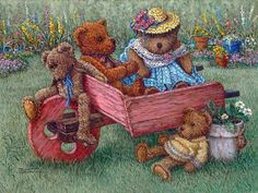 Global Gallery 'Amy's Bears' by Janet Kruskamp Original Painting on Wrapped Canvas Size: Painting Edges, Fabric Painting, Poster Prints, Art Prints, Bear Print, Cute Teddy Bears, Wall Art For Sale, Stretched Canvas Prints, Cute Art