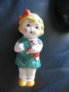 Vintage Bisque Frozen Charlotte Doll Holding Dolly Japan Cutie!