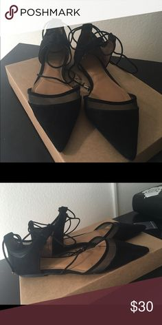 Black lace up flats Black lace up Zara flats!! Super cute paired with dresses/shorts/boyfriend jeans!! Only worn a few times Zara Shoes Flats & Loafers