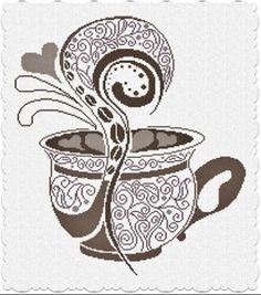 Caffe Latte Counted Cross Stitch Pattern