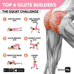 Top 6 exercises to build up the perfect round booty🍑🔥Add them up on top of your workout routine or do this as a stand-alone workout every day to achieve a perky butt🔥😍 Big Ass Workouts, Easy Workouts, Slim Waist Workout, Hip Workout, Flat Tummy Workout, Gym Workout For Beginners, Fitness Workout For Women, At Home Workout Plan, At Home Workouts