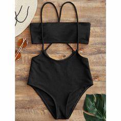 547093f7215a1 Bandeau Top And High Waisted Slip Bikini Bottoms Black Wishlist Valentine