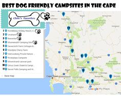 Where to go camping with a dog in Western Cape? Here are best pet-friendly campsites in the area. map of the campsites, rules, phone for booking, facilities and prices. Camping Guide, Go Camping, Appalachian Trail Map, Cherry Farm, Thru Hiking, Holiday Resort, Campsite, Dog Friends, Best Dogs