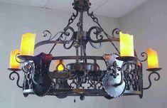 Vintage ceiling fan with chandelier