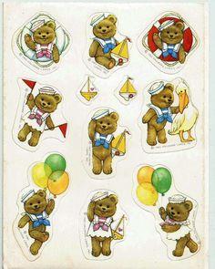 Stickers Vintage 1 sheet Hallmark SAILOR Teddy Bears 1983      A1-28 #Hallmark #Stickers