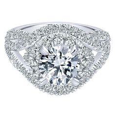 18K White Gold Woven Split Shank Style Halo Diamond Engagement Ring
