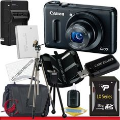 Canon PowerShot S100 Digital Camera (Black) 16GB Package 5 by Canon. $367.88. Package Contents:  1- Canon PowerShot S100 12.1 MP Digital Camera (Black) w/ All Supplied Accessories 1- 16GB SDHC Class 10 Memory Card 1- Rapid External Ac/Dc Charger Kit   1- USB Memory Card Reader  1- Rechargeable Lithium Ion Replacement Battery  1- Weather Resistant Carrying Case w/Strap  1- Pack of LCD Screen Protectors  1- Camera & Lens Cleaning Kit System  1- Mini Flexible Table Top Tripo...