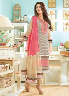 Engrossing Embroidered Churidar Suit