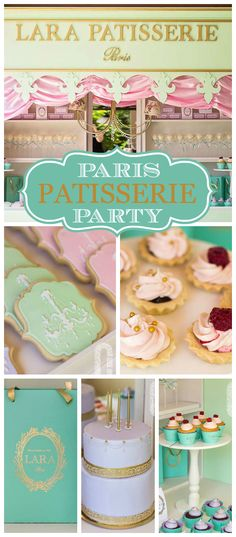A Ladureé baking girl birthday party in pink, lavender and green with tiny tarts and amazing decorated sugar cookies! See more party planning ideas at CatchMyParty.com!