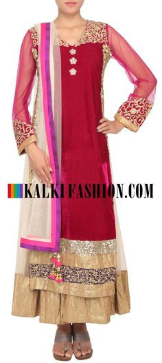 Buy Online from the link below. We ship worldwide (Free Shipping over US$100) http://www.kalkifashion.com/maroon-outfit-enhanced-in-sequence-and-zari-embroidery-only-on-kalki.html