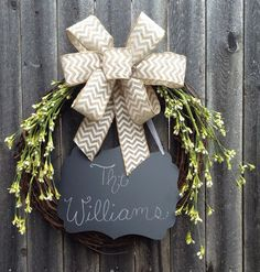 Personalized Floral Wreath with Chalkboard Summer by KMMGdesigns, $50.00