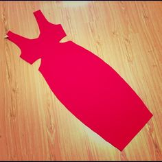 """Sexy Red Dress Brand new sexy red tea length fitted dress. Nice thick stretchy material. Very sexy side cut outs just below the bust part. V-Shape front and back. From shoulder down is 41.5"""" long. Perfect dress to wear for a night outing!! Fast shipping Dresses"""