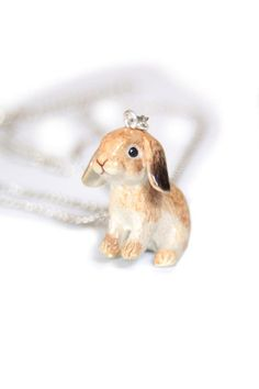Absolutely stunning handpainted porcelain bunny pendant PREORDER | Shineon Ltd