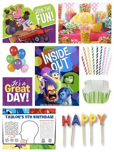 Inside Out Birthday Party Ideas, Decorations & Supplies | Movie Theme Parties | PartyIdeaPros.com