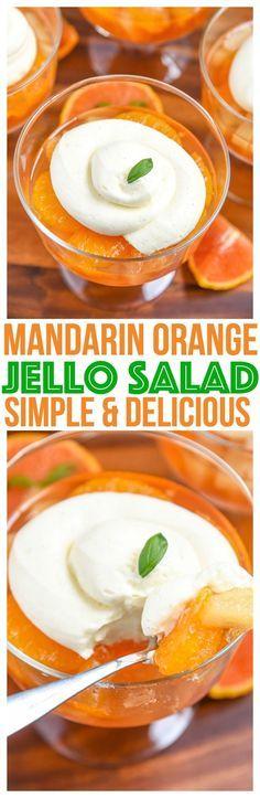 Quick easy Mandarin Orange Jello Salad Recipe. Simple gelatin dessert for summer parties! Kid Friendly Recipe Mini Chef Mondays, Jello salad with pudding  via @CourtneysSweets