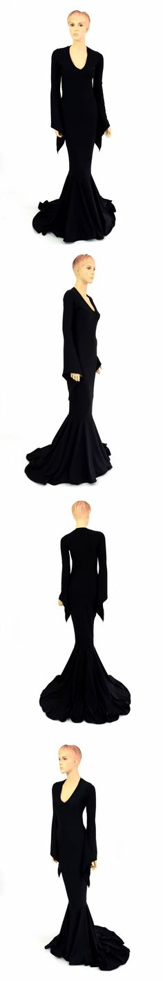 Women Fashion: Morticia V Neck Puddle Train Pixie Sleeve Gown In Black Soft Knit Made To Order! -> BUY IT NOW ONLY: $99.99 on eBay!
