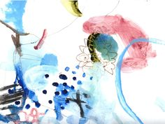 Acrylic color blue,pink drawing on paper-abstract art.   Miwha Han