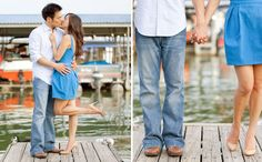 Engagement Session at Joe Pool Lake Marina with #Louboutins #weddings #fashion