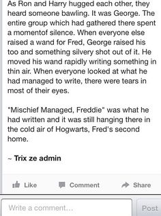 Part 2 :( [actually crying right now why did fred have to die. why.]