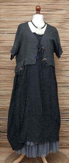 LAGENLOOK LINEN QUIRKY BOHO 2 PCS STRIPED DRESS+JACKET*CHARCOAL/BLACK*SIZE L-XL #Diverso #BohoHippie #Casual