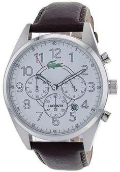 Lacoste Men's Zaragoza White Dial Brown Leather