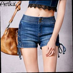41.00$  Watch now - http://ali0at.worldwells.pw/go.php?t=32689883306 - Artka Women's Summer New Washed Bleached Straight Jeans All-match Comfy Denim Shorts KN10867C 41.00$