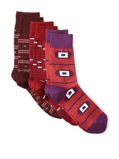 Richer Poorer Men's Assorted Casual Socks (3 Pairs) (Red Multi)