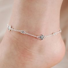 Anklets 925 Sterling Silver Sea Turtle Adjustable Teen Or Children Length Anklet