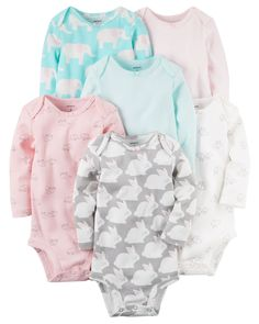 Baby Girl 6-Pack Long-Sleeve Original Bodysuits from Carters.com. Shop clothing & accessories from a trusted name in kids, toddlers, and baby clothes.