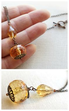 Hey, I found this really awesome Etsy listing at https://www.etsy.com/listing/218152871/large-honey-crystal-dangle-necklace-jane