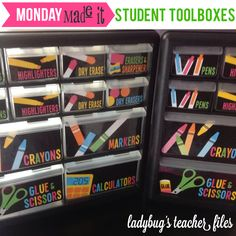 organized labels for craft drawers: pens, pencils, highlighters, crayons, calculators, scissors, ect