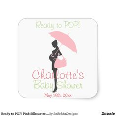 Ready to POP! Pink Silhouette Baby Shower Square Sticker