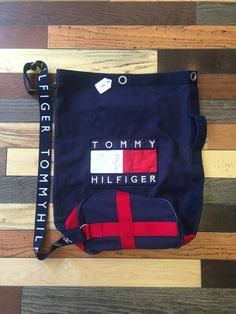 e872e39f ... Tommy Hilfiger weekend top load bag. This & more vintage styles on  www.stationdenver.com #vintagetommyhilfiger #vintageclothing #tommyhilfiger  #boxlogo ...