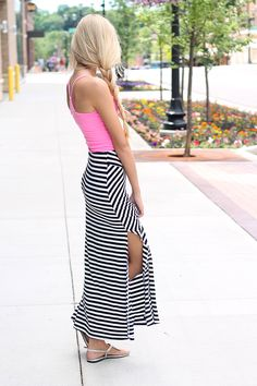 Black And White Stripe Split High Rise Fitted Maxi Skirt