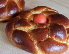 Tsoureki (Greek Easter Bread) | Wild Yeast  There are lots of recipes around for this, with variation in ingredients (including olive oil volumes!), shape (round or straight), and number of red eggs (one or lots).
