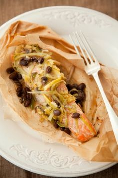 Paper Wrapped Salmon with zucchini, squash, leeks, mushrooms, black beans