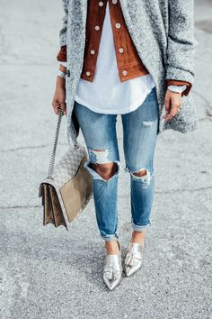 Silver loafers with ripped jeans + Heather / copper layers