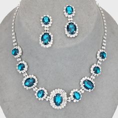 Beautiful teal diamante crystal jewellery set perfect for proms available in lots of other colours
