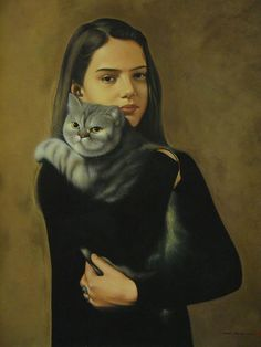 As Cores Da Arte: zhang Yaowu Crazy Cat Lady, Crazy Cats, Painting Gallery, Art Gallery, Cat People, Cat Drawing, I Love Cats, Cat Art, Female Art